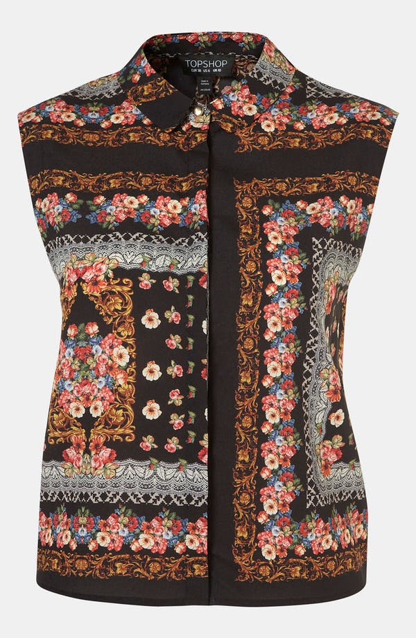 Alternate Image 1 Selected - Topshop Scarf Print Sleeveless Shirt
