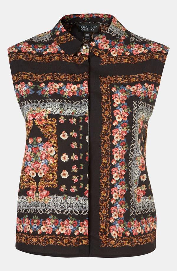 Main Image - Topshop Scarf Print Sleeveless Shirt