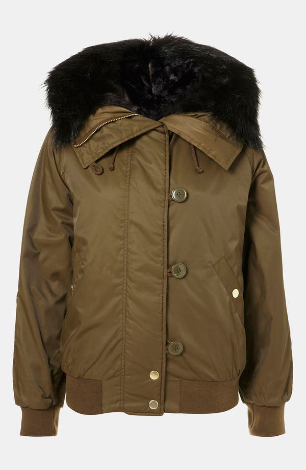 Main Image - Topshop Faux Fur Trim Bomber Jacket