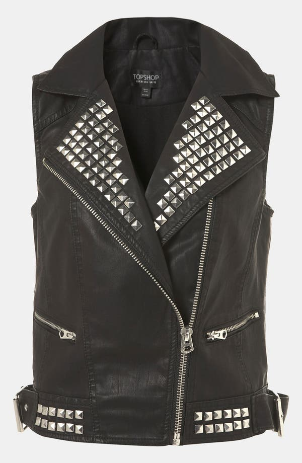 Main Image - Topshop 'Dallas' Faux Leather Vest