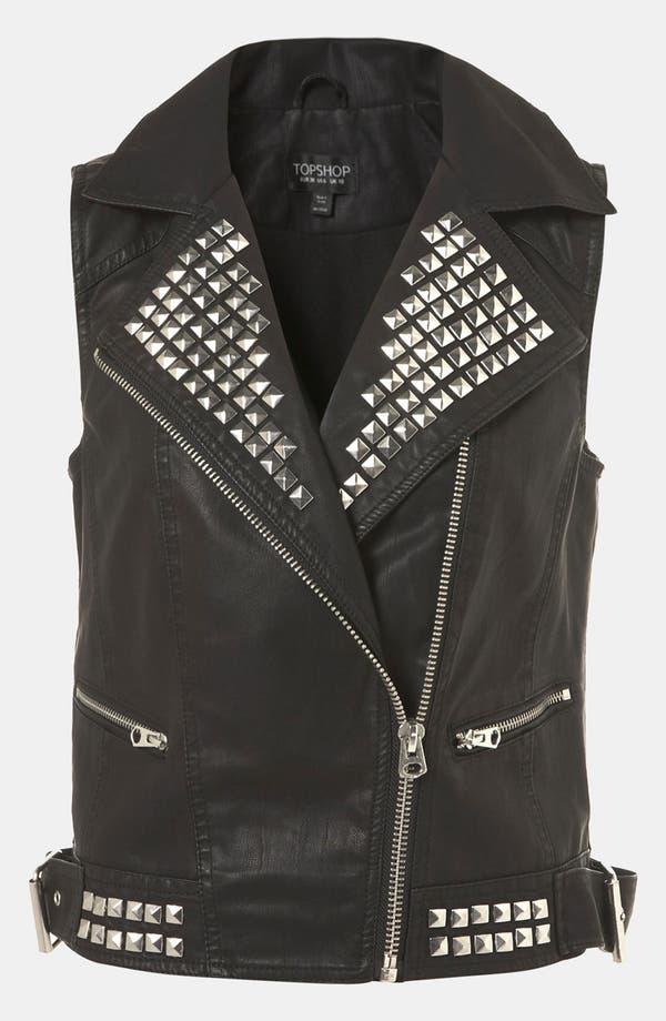 Main Image - Topshop 'Dallas' Faux Leather Vest