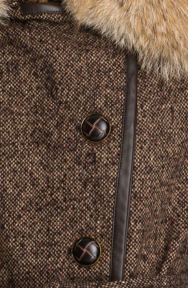 Alternate Image 3  - MICHAEL Michael Kors Belted Tweed Coat with Genuine Coyote Fur