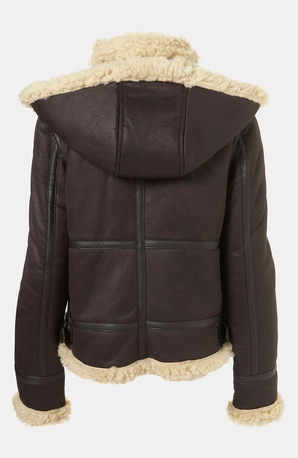 Alternate Image 2  - Topshop 'Carlos' Faux Shearling Hooded Flying Jacket