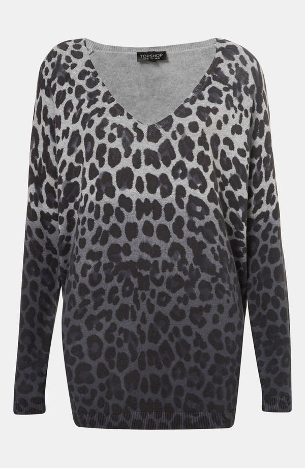 Main Image - Topshop Leopard Print Dip Dyed Sweater