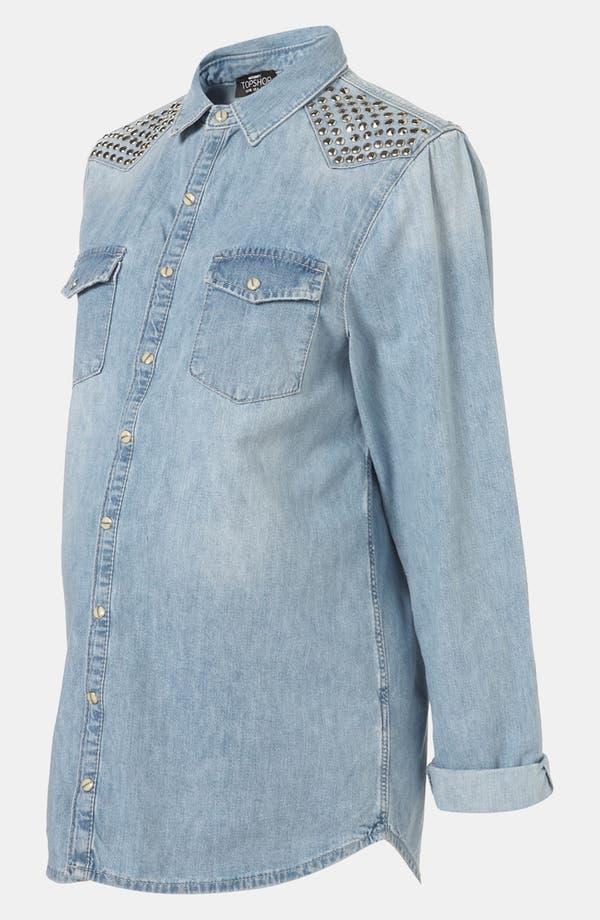 Alternate Image 2  - Topshop 'Lionel' Studded Denim Maternity Shirt