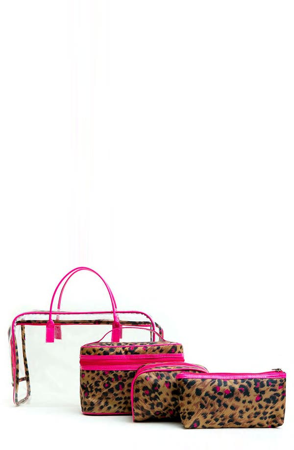 Alternate Image 1 Selected - Tricoastal Design 'Leopard' Cosmetics Bag Set