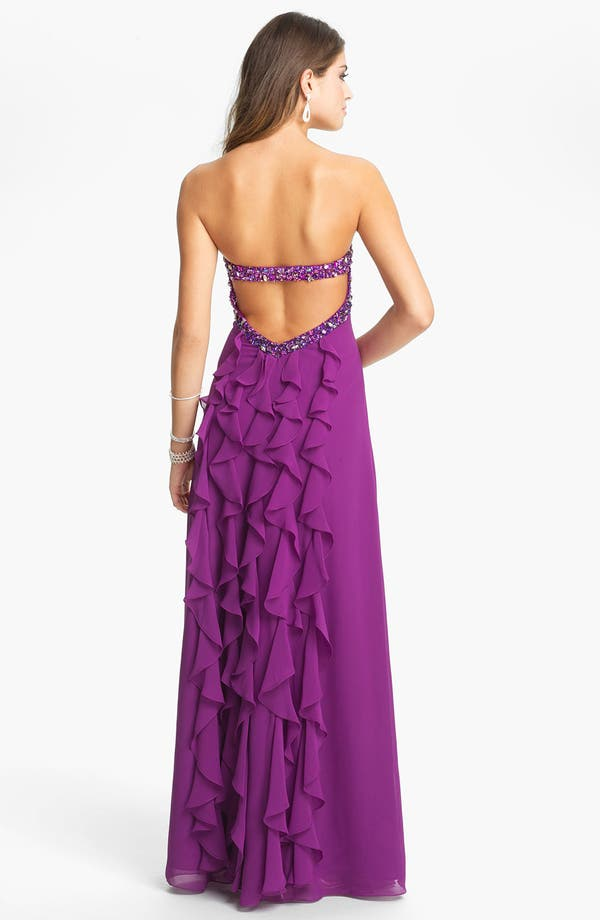 Alternate Image 2  - Faviana Ruffled Chiffon Gown (Online Exclusive)