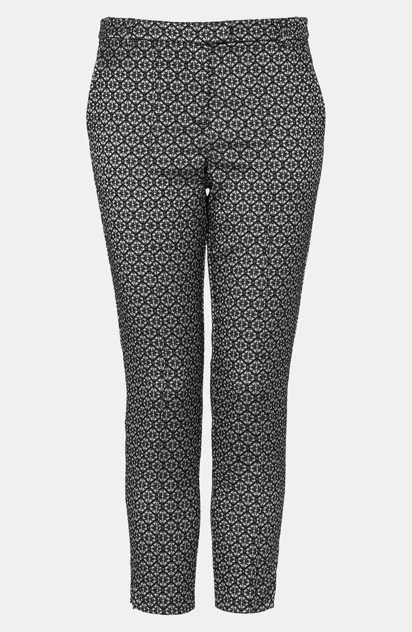 Main Image - Topshop Tile Jacquard Crop Cigarette Pants (Petite)