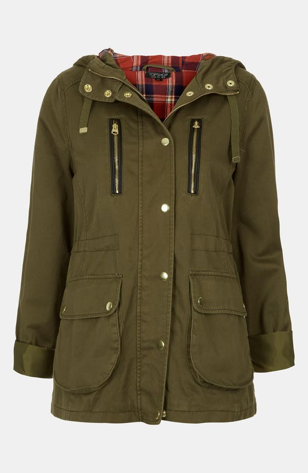 Main Image - Topshop 'Talbot' Elbow Patch Parka