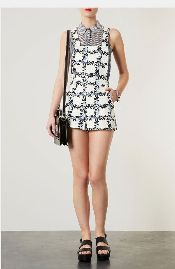 Alternate Image 1 Selected - Topshop 'Floral Grid' Print Romper