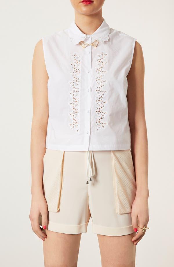 Main Image - Topshop Embroidered Cutout Sleeveless Shirt