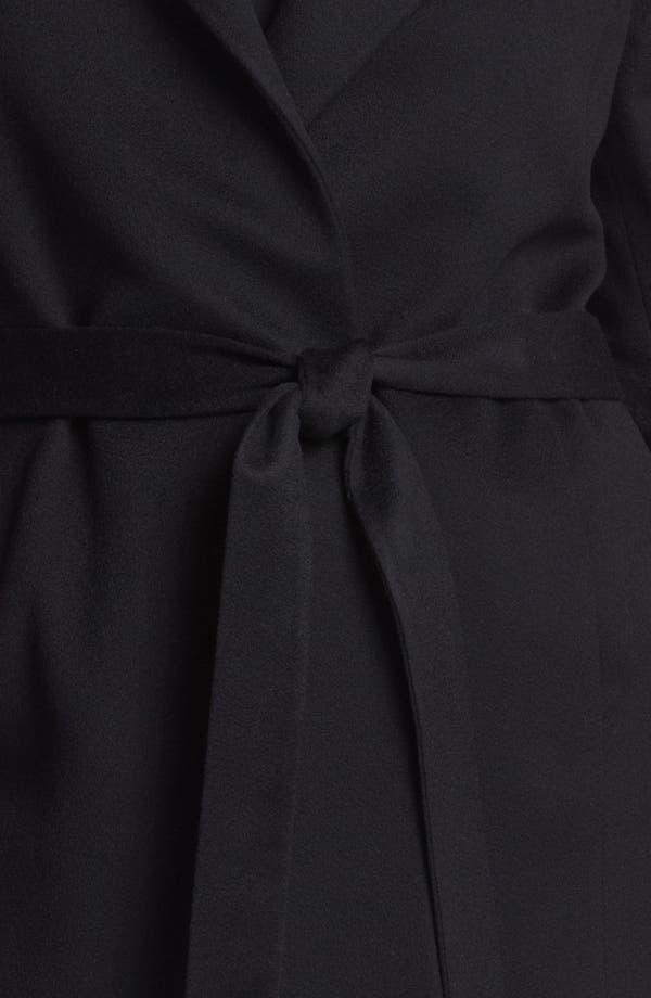 Alternate Image 3  - Fleurette Wing Collar Cashmere Wrap Coat (Plus Size)
