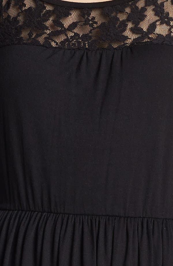 Alternate Image 3  - Loveappella Lace Yoke Dress (Petite)
