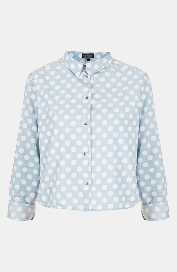 Alternate Image 3  - Topshop Moto Polka Dot Crop Shirt