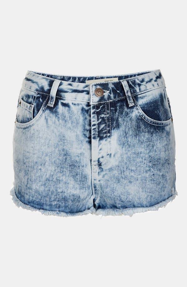 Alternate Image 1 Selected - Topshop Moto 'Acid Holly' Denim Hot Pants (Petite)