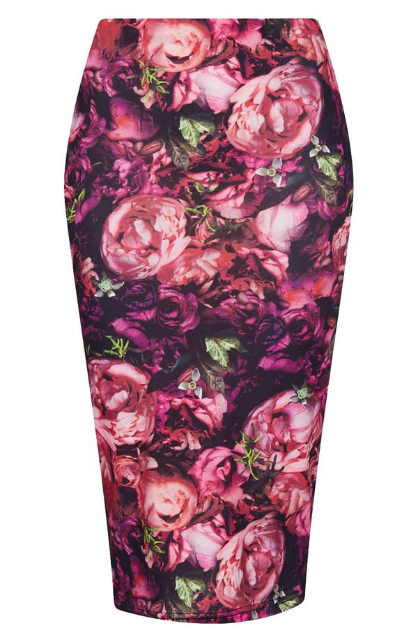 Main Image - Topshop 'Craft Flower' Print Tube Skirt