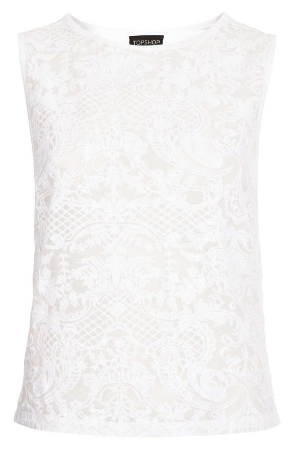Alternate Image 3  - Topshop Embroidered Chiffon Shell