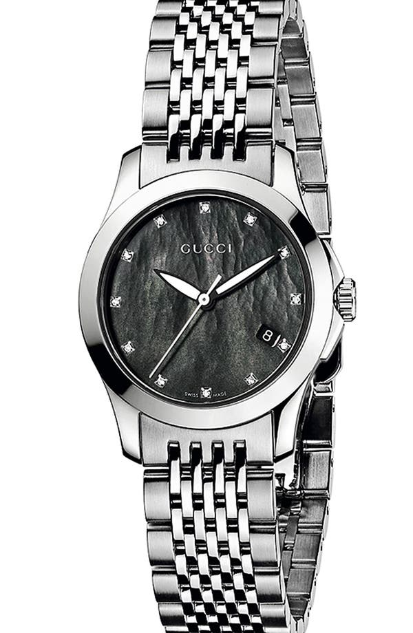 Alternate Image 1 Selected - Gucci 'G Timeless' Diamond Dial Bracelet Watch, 27mm