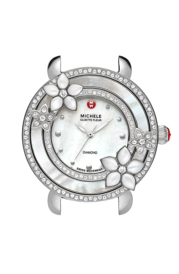 Main Image - MICHELE 'Cloette Fleur' Diamond & Mother-of-Pearl Watch Case, 38mm