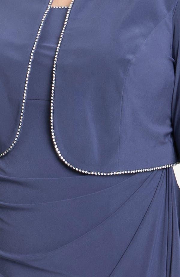 Alternate Image 3  - Alex Evenings Rhinestone Jersey Dress & Bolero (Plus)