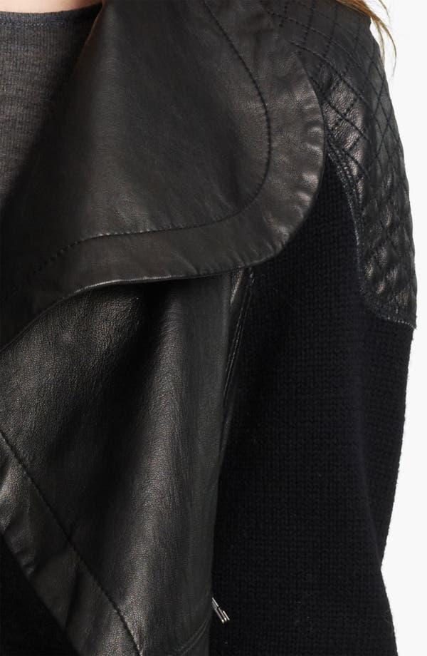 Alternate Image 3  - Yigal Azrouël Drape Front Leather & Knit Jacket