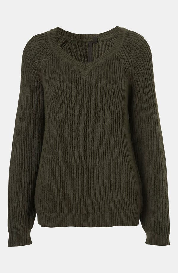 Alternate Image 1 Selected - Topshop Boutique Ribbed V-Neck Sweater
