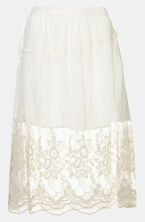 Main Image - Topshop Embroidered Sheer Skirt