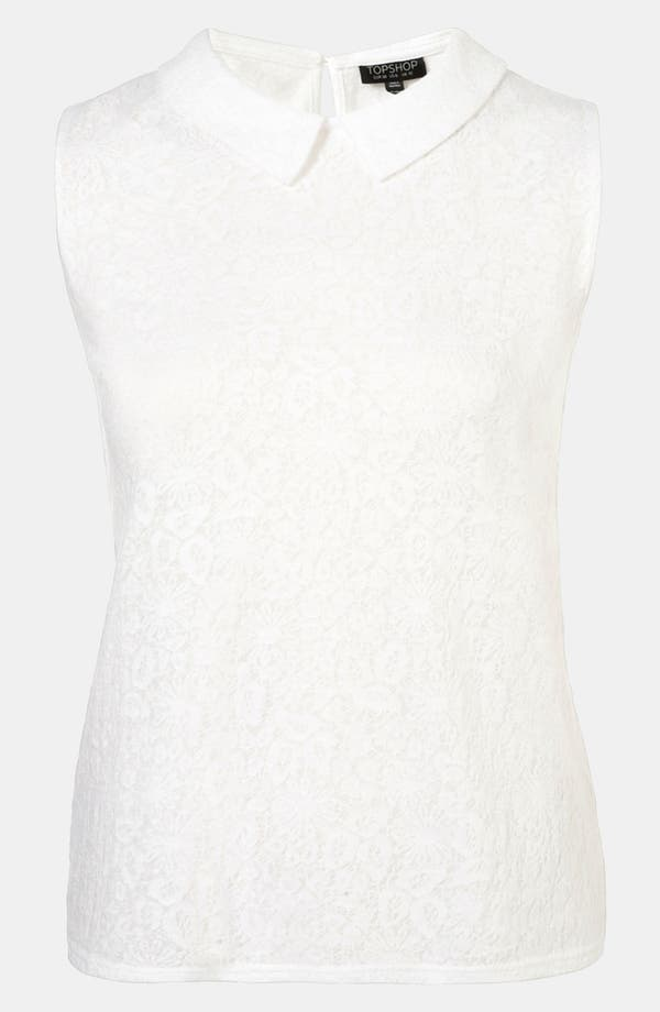 Main Image - Topshop Collared Lace Pattern Tank