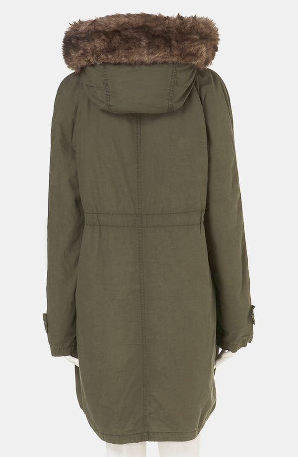 Alternate Image 3  - Topshop 'Benny' Faux Fur Trim Maternity Parka
