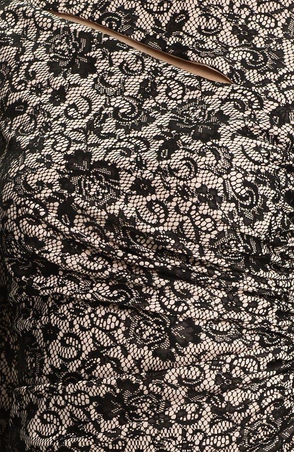 Alternate Image 3  - Kay Unger V-Back Ruched Lace Jacquard Dress