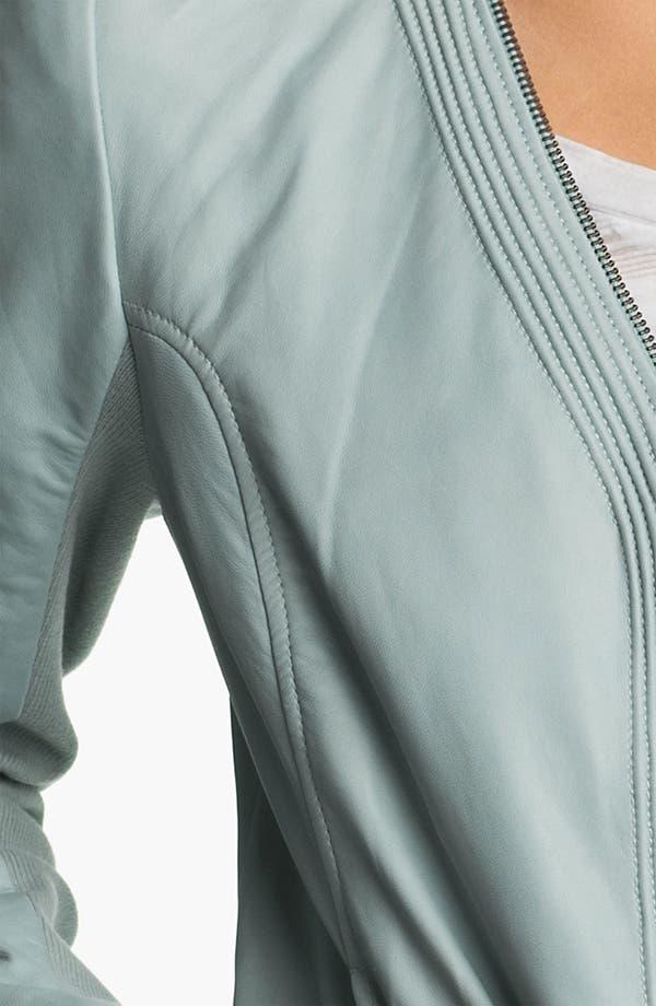 Alternate Image 3  - Trouvé Zip Neck Leather Bomber Jacket