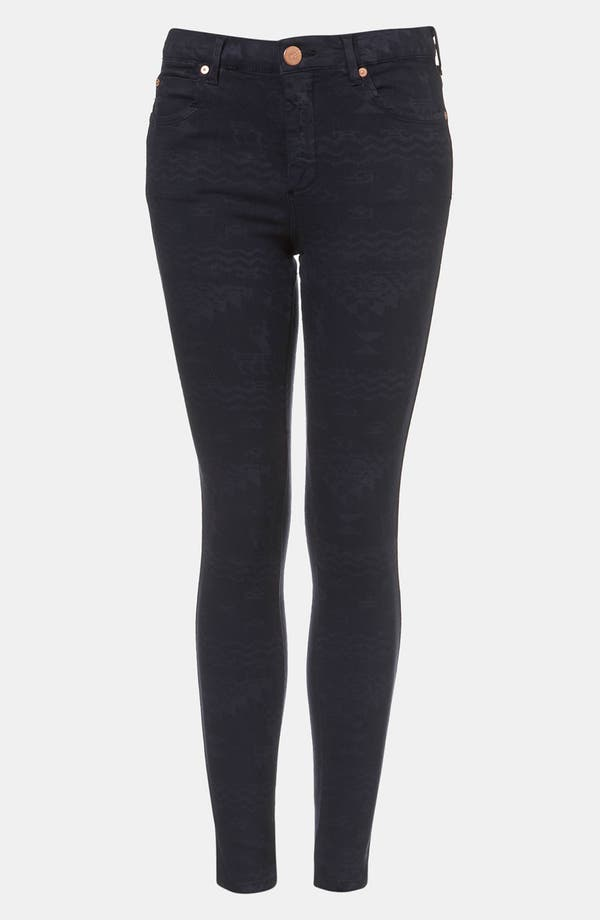 Main Image - Topshop Moto 'Leigh' Andean Print Skinny Jeans