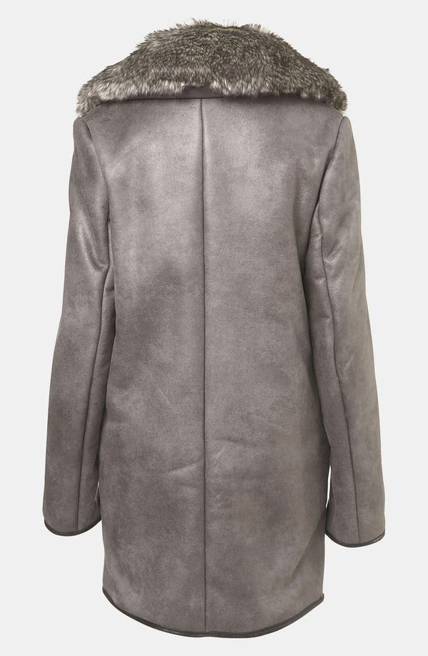 Alternate Image 2  - Topshop 'Karim' Faux Fur Lined Metallic Coat