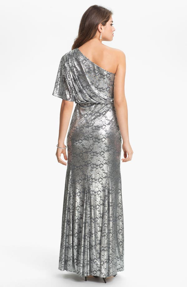 Alternate Image 2  - Adrianna Papell One Shoulder Metallic Blouson Gown