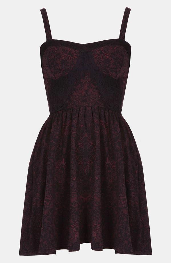 Main Image - Topshop Lace Print Bustier Dress