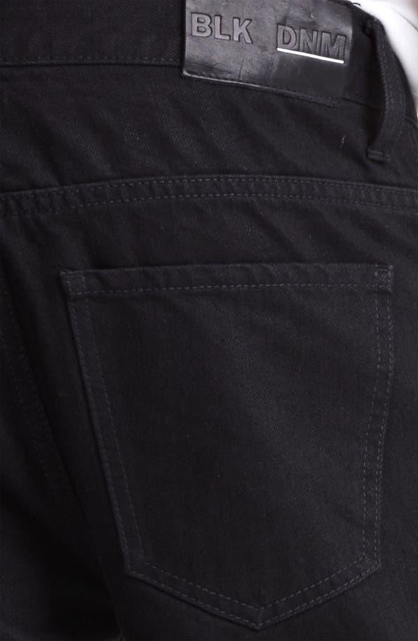 Alternate Image 4  - BLK DNM 'Jeans 5' Slim Straight Coated Denim Jeans (Jet Black)