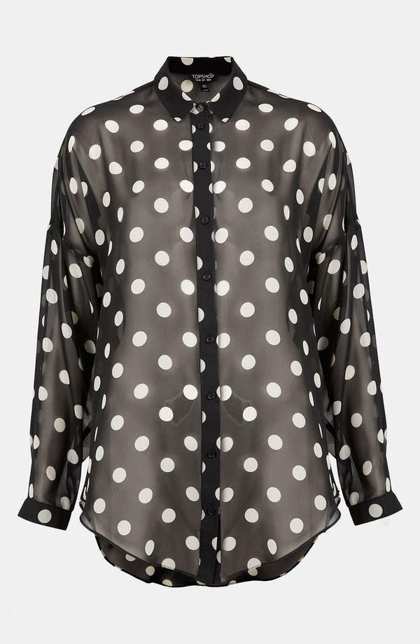 Main Image - Topshop Sheer Polka Dot Shirt