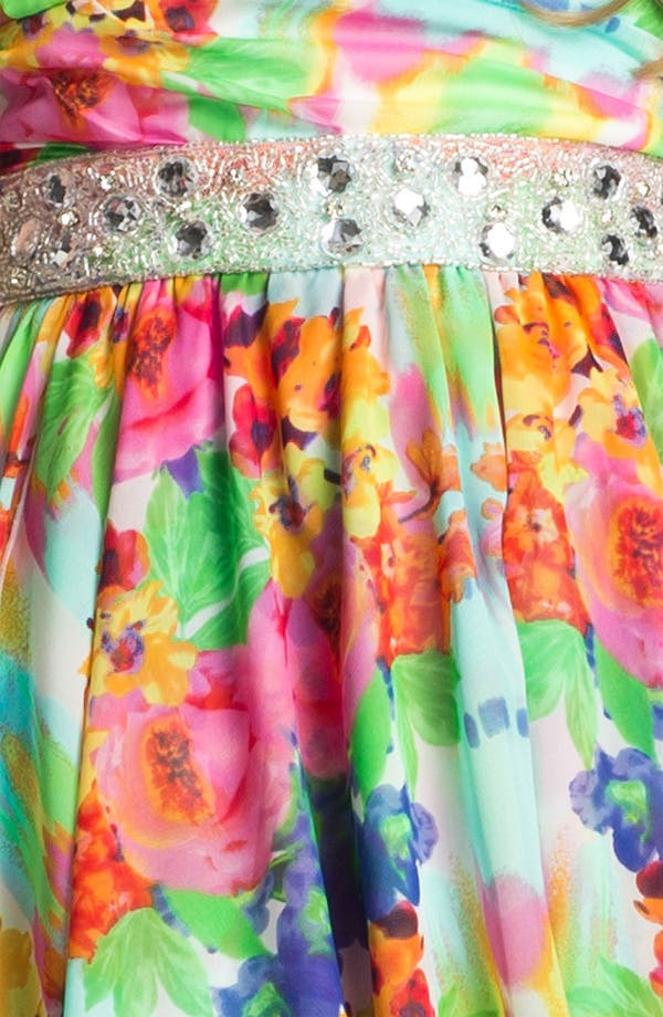 Alternate Image 3  - As U Wish Floral Chiffon High/Low Gown (Juniors)