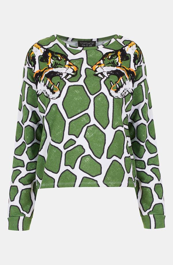Alternate Image 1 Selected - Topshop Embroidered Tiger Print Sweatshirt