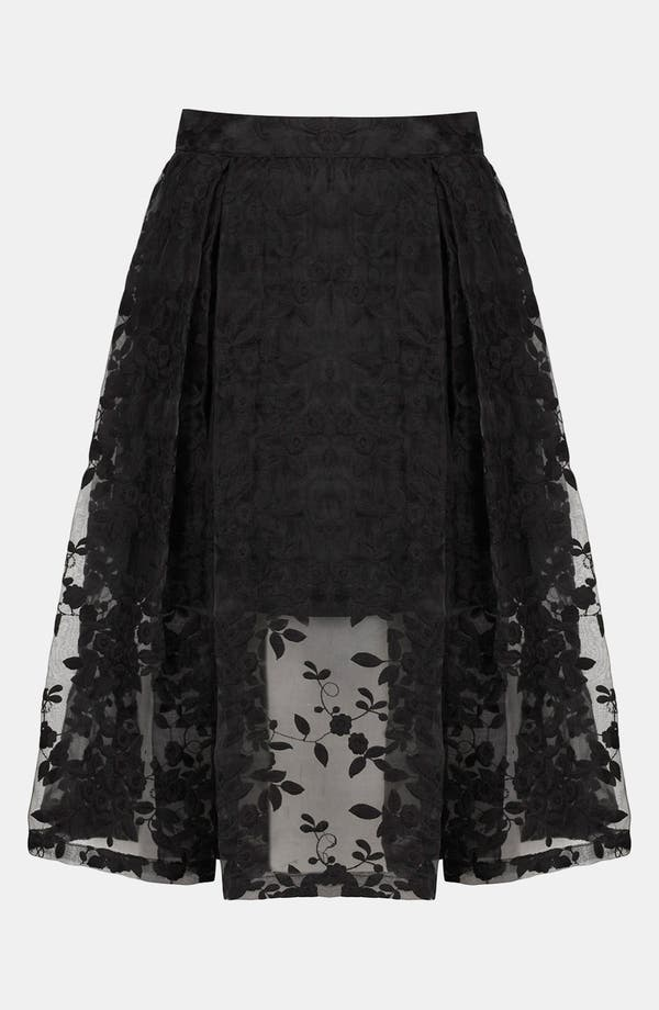 Alternate Image 3  - Topshop Floral Embroidered Organza Skirt