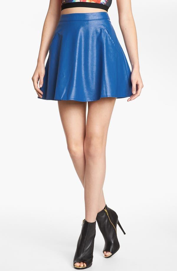 Main Image - ASTR Faux Leather Skater Skirt