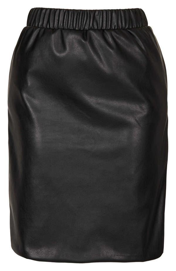Alternate Image 3  - Topshop Elastic Waist Faux Leather Pencil Skirt