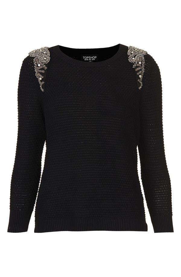Alternate Image 5  - Topshop Embellished Shoulder Open Knit Sweater