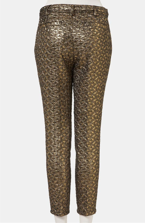 Alternate Image 2  - Topshop Metallic Jacquard Crop Cigarette Pants