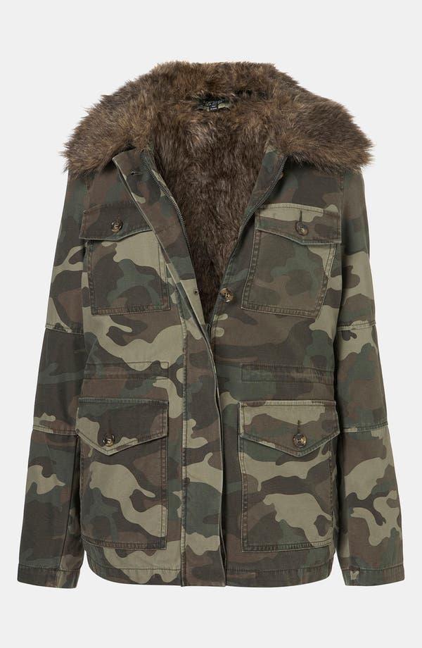 Main Image - Topshop Faux Fur Lined Camo Utility Jacket