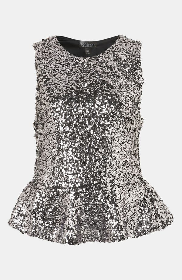 Alternate Image 1 Selected - Topshop Sequin Peplum Top