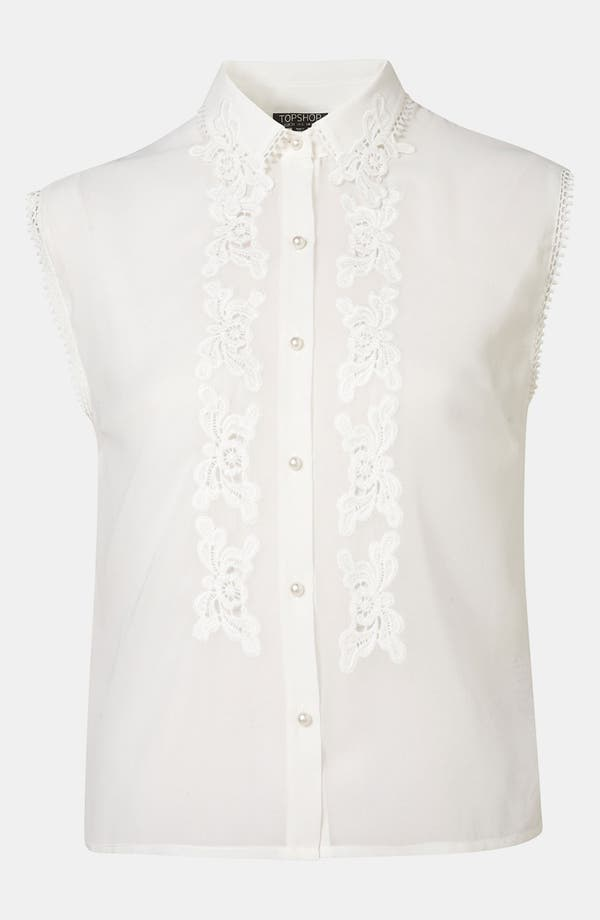 Main Image - Topshop Embroidered Cutout Shirt
