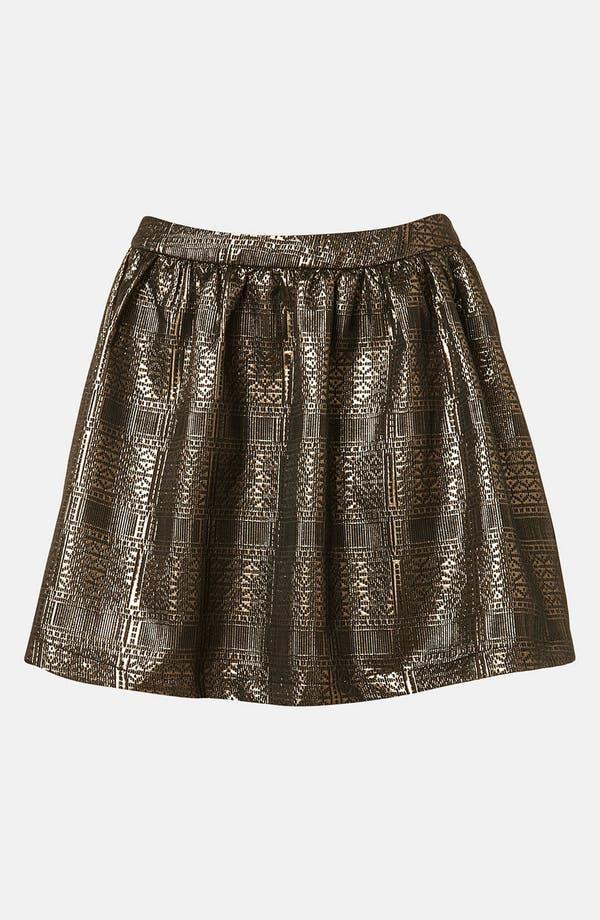 Main Image - Topshop Metallic Jacquard Skater Skirt