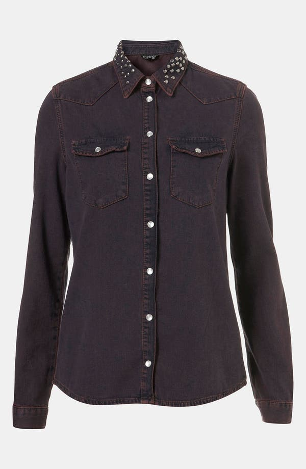 Alternate Image 1 Selected - Topshop Moto 'Madison' Stud Collar Denim Shirt