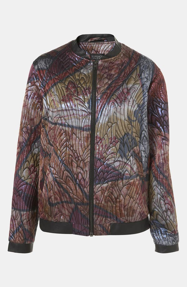 Main Image - Topshop 'Stained Glass' Jacquard Bomber Jacket